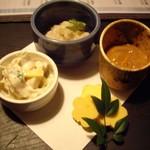 南洲 - お通し珍味4種 下がカラスミチーズ