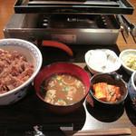 柳橋もつ元 - 牛肉の淡煮丼定食680円。ご飯は小盛り~大盛りまで可能です。ご飯の中盛りは一般的な大盛りに近いので、普通の女子なら小盛りでもいいかも。
