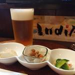 インディ庵 - 料理写真:生ビール&お通し
