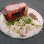 TATEOKA TAKESHI - 噴火湾産11kg鰤、大麦と牡蠣のリゾット、ミネラルの香り