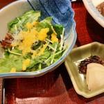 116773777 - サラダの上にはプチプチと透明な海藻クリスタルをトッピング、サッパリしたすりおろし玉葱のドレッシングで