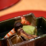 会席料理 かど36 - 2019.10 煮物 鮑 翡翠茄子 松茸 車海老
