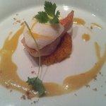 11678630 - 高知産金目鯛のポワレ、蕪と柚子のスフレ載せ、サフランとポルトブランソース