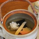 116797735 - 汁物(松茸、はも、紅葉麩、酢橘)