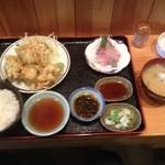 呑喰処 縁 - 小エビのかきあげてんぷらの日替わり定食 コーヒー付き630円