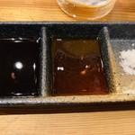鯛之鯛 - お造りの醤油とポン酢と塩