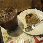 ロッテリア - レインフォレストアイスコーヒーとモンブラン