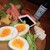 燻製キッチン - 料理写真:自慢の燻製の盛合せ4種 半熟玉子、豆腐、たくあん、タラコ