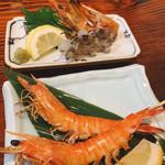 釣船茶屋 ざうお - 車海老の刺身と塩焼き  (ひっかけ)