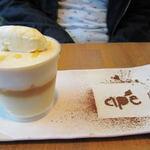 アーペ和茶カフェ - 季節限定の「キャラメルとさつまいものムース」(390円)):11月の商品です。