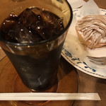 タナカコーヒ - アイスコーヒーとモンブラン