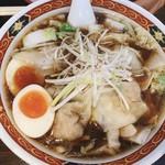 しお福 - 味玉ワンタン麺 醤油 細麺 普通盛り