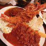 117084976 - 海老フライ・ヘレとんかつ・ハンバーグ                         サラダ・ポテトサラダ・ご飯・味噌汁