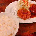 とんかつ ひろ喜 - メンチカツ・海老クリームコロッケ・サラダ・味噌汁・ご飯