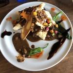 中華バルSAISAI。 - ヒラメと季節のお野菜唐揚げに棒棒ソース、       黒酢ソース、スイートチリソースの       三種の神器ソースがけ。