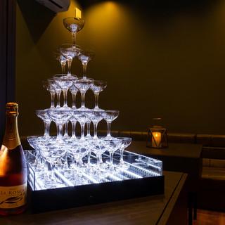 数千種類のお酒をご用意しており、シャンパンタワーもご利用可能