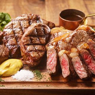 特注石窯で焼き上げる黒毛和牛熟成肉や一頭買い東京X豚のグリル