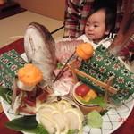割烹 岡田 - 鯛のお造り。獅子舞が可愛い!