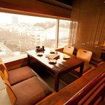 中目黒 炭火ダイニング ABE-YA! - 目黒川、桜絶景の上がり半個室の掘りごたつ席。