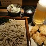 さ竹 - もりそば  鶏天ぷら  生ビール