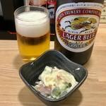 和ダイニング 縁慈 - 中瓶ビール580円+税とお通しのポテトサラダ280円+税