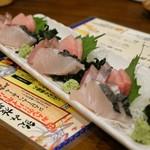 産直鮮魚と地酒 酒旬亭 中目魚 - 三崎まぐろと秋旬魚3種盛合せ