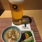 TETSU流 - 冬瓜と鳥挽き肉のそぼろあんかけと自家製ぬか漬け