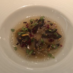 Geranium - Lightly Pickled Celeriac with Söl, Dried Mussels & Aromatic Seeds