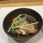 鮨いとう - 料理写真:平目、はちめ、醤油和え