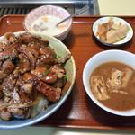 昌徳苑 - 切り落とし丼セット(ご飯大盛り)
