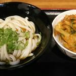 本場さぬきうどん 親父の製麺所 - すだちぶっかけ(390円)、ミニかき揚げ丼(250円)