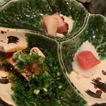 寿司 赤坂 湊 - おつまみ三種:あん肝、蒸し鮑、蛸のやわらか煮、たらこのからすみ