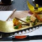 和菜割烹 いしだ - 2012/02の夜の会席料理(節分をテーマにした料理・鬼に金棒、ウグイス、豆まきの升など)