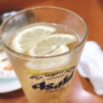大松 - ボール3杯目。グラスそのままなので、レモンの枚数が飲んだ数