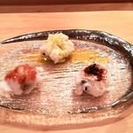 吉鮨 - ハモの湯引き(梅肉、トリュフ塩とオリーブオイル、粉醤油と山椒)       トリュフ塩がハモと良くあっていて、とても美味しかったです。
