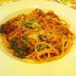 ガスト - ビーフと野菜のミートソーススパゲティ+ほうれん草+揚げなすトッピング