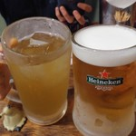 BIA HOI CHOP - 蓮花茶ハイがランチ価格で380円と生ビールがランチ価格で380円でかんぱ~い