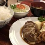 キッチンパパ - 料理写真:ハンバーグ(160g)&チキン南蛮のセット 1100円