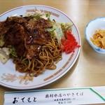 奥村氷店の焼きそば - 並盛+肉増しレギュラー+ニンニクチップ