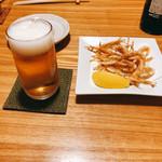 やぶ久 - ビール&白エビ唐揚げ