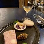 KUFUKU± - 酒粕のレバーペーストと紫芋ムースの最中       里芋と西京フォアグラのパテドカンパーニュ