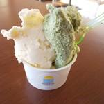 ミネルヴァ - 料理写真:ジェラートダブルカップ(伊勢茶とマイヤーレモン&クリームチーズ)