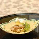 117593827 - あて3種(枝豆、湯がき落花生、栗チップス)