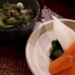 鎌倉かつ亭 あら珠 - お新香と小鉢
