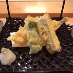 和海味処 いっぷく - 鱚、海老、茄子、甘唐辛子の天ぷら
