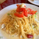 カフェ・ドゥ・トワ - 地鶏とアスパラのクリームソースのスパゲティ