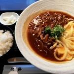 味万 - 料理写真:国産牛カレー釜玉うどん