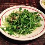 青龍門 - 豆苗ときのこの炒め