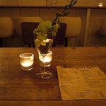 シティー カントリー シティ - 良い具合にくたびれた机とキャンドルの光