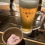 居酒屋 龍のす - お通しとビール